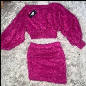 Fuzzy skirt set